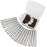 Velscrun 300 Pack U Shaped Hair Pins Bun Hair Pins Metal Bobby Pins Hair Clips for Hair Decoration (Brown)