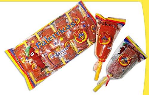 10 Pcs Each Bag - 1x Pavito Palerricas Dulce De Tamarindo -Tamarind Mexican Lollipops Candy 10 Pcs in each bag for a total Net Wt. 2.2 LB