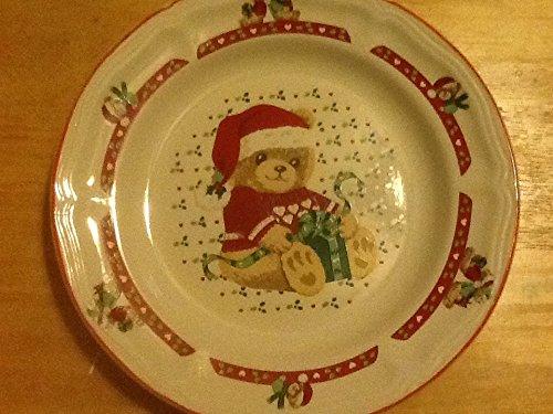"Tienshan Stoneware Christmas Teddy Bear 7 1/2"" Plates, Salad Plates"