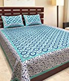 BedZone 100% Cotton Rajasthani Tradition King Size Double Bedsheet with 2 Pillow Cover (Sea-Green)