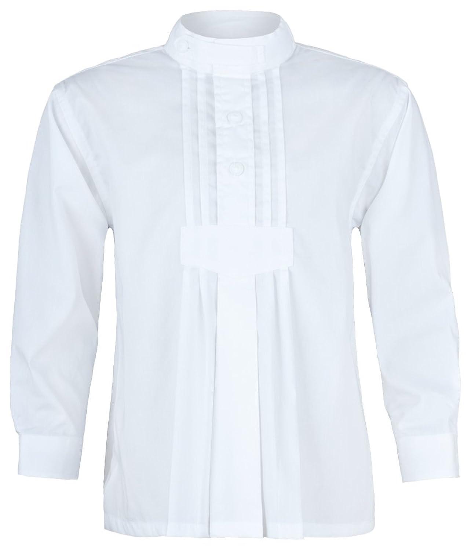 Isar Trachten Kinder Trachtenhemd Samuel mit Stehkragen - Weiß - Perfekt zu Lederhose und Jeans an Oktoberfest, Kirchweih oder Kommunion