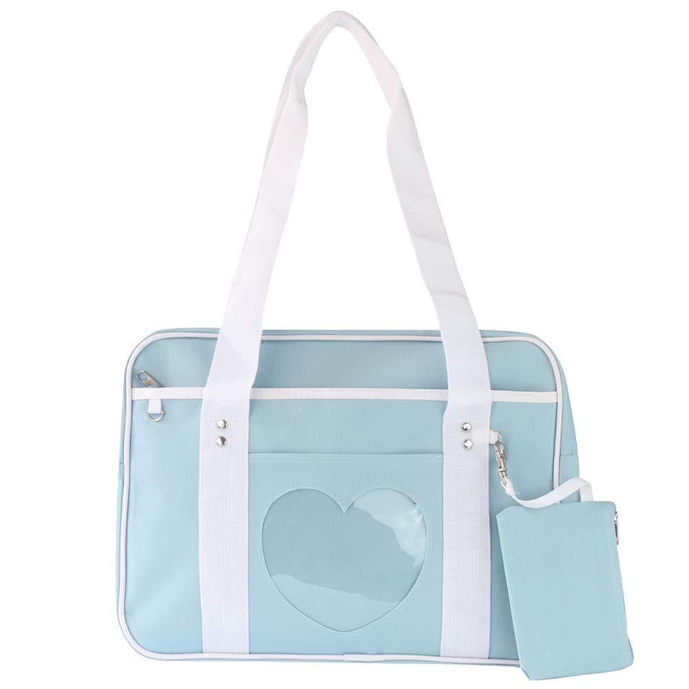 ad5035dabc8 Ita Bag Heart Shape Window Japanese School Handbag Large JK Bag Girls  Duffle Purse Anime School Satchels for Lolita Comic DIY Cosplay Blue:  Amazon.co.uk: ...