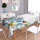 """Vanfan Decorative Jacquard Rectangle Tablecloth Flowers and Oval Dome Shaped Ladybugs Never Ending Love Story Table Cover for Dining Room and Party 70""""x120"""""""