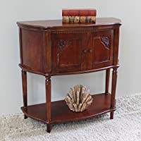 International Caravan ZM-3820-ST-IC Furniture Piece Windsor Carved Wood Two Door Console Table-Stain