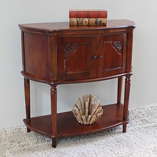 International Caravan ZM-3820-ST-IC Furniture Piece Windsor Carved Wood Two Door Console Table-Stain (Table Rattan Set Console)