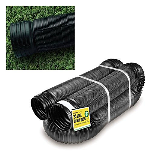 - Perforated Corrugated Expandable Flexible Landscape Drain Pipe, 4-Inch by 25-Foot