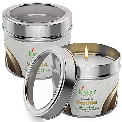 100 Hr Soy Candle - KISCO CANDLES Luxury Lightly Scented Candles, 2 Pack - 100% Natural Soy Wax - Beautiful Gift Set Tins - Soothing, Relaxing Vanilla Fragrance - Aromatherapy, Decoration, Parties - 4.5oz