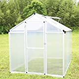Walcut Natural Aluminum Walk in Greenhouse Flower House Garden House (6ft x 8.2ft x 6.4ft)