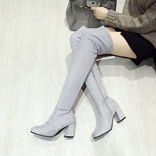 femme cuissardes Bottes chaussures dessus Gris élastique au bloc hiver genou Oaleen du talon xfEqwCxF