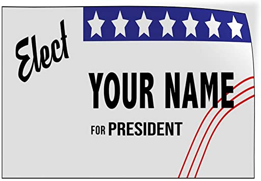 Custom Door Decals Vinyl Stickers Multiple Sizes Elect Name for Position Blue White Black Political Elect Signs Outdoor Luggage /& Bumper Stickers for Cars White 54X36Inches Set of 5