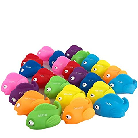 Boley Bath tub Tropical Fish Toy for Toddlers - 24 pc Educational Color Fish Toy with colors labeled - Educational baby bath toy to help toddlers learn about - Mini Bubble Bucket