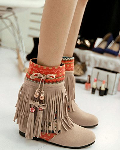Minetom Mujer Otoño Invierno Cuero Nobuck Calentar Botas De Flecos con Cuentas Zapatos Cargadores Cómodo Botines Beige