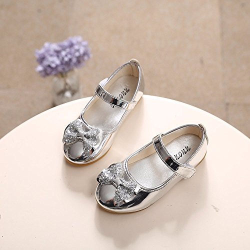 Sparkle Princess Shoes for Girls Sequin Bowknot Flat Shoes Children Velcro Shinning Shoes Mary Jane Princess Party Dress Shoes for Toddlers & Girls by DaoAG - Shoes (Image #2)