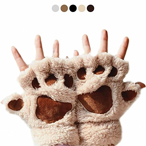 AStorePlus Cartoon Cute Bear Plush Cat Paw Claw Glove Soft Winter Fluffy Half Finger Gloves, Hands Tiger Warmer Mouse Sketch Mittens, Women Kids Anime Coplay Halloween Glove