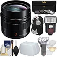 Panasonic Lumix G 12mm f/1.4 Leica DG Summilux ASPH Lens with 3 UV/CPL/ND8 Filters + Backpack + Flash + Bouncer + Diffuser + Kit