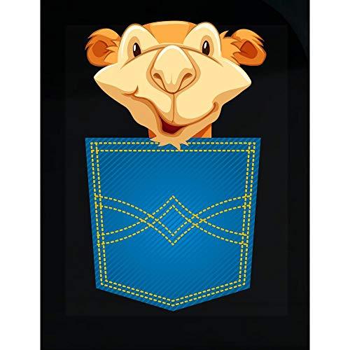 Funny Camel - in Front Shirt Pocket - Saddle Animal Dromedary Desert Humor - Transparent - Pocket Camel Front