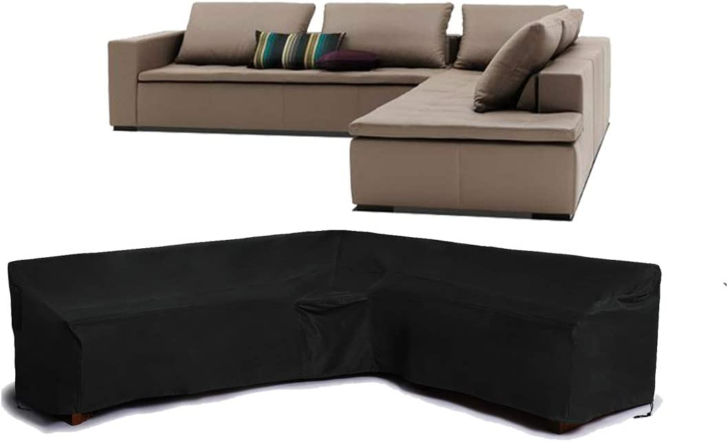 FLR Patio Furniture Cover 105(Left)x78(Right)inches L-Shaped Sectional Sofa Cover Waterproof Dustproof Furniture Protection Corner Sofa Cover for Outdoor Indoor Veranda (105(left) x 78 inches (right))