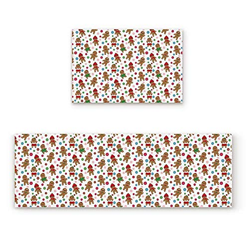 YGUII 2 Piece Non-Slip Kitchen Mat Rubber Backing Doormat The Gingerbread Man Runner Rug Set, Hallway Living Room Balcony Bathroom Carpet Sets 16X23.6in (40x60cm) and 16X47in (40x120cm)