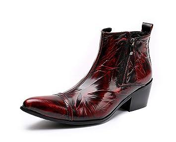 84849d3d6 Botas para hombre Moda punk zapatos de cuero puntiagudos botas martin  cortas personalizadas Botas vaqueras occidentales
