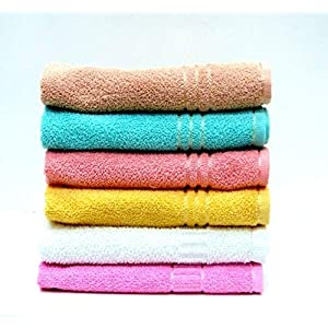 Mythos Soft Cotton Multicolored Hand Towels Set of 6 Towels (13 X 20 Inches)
