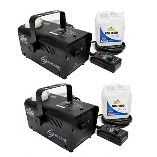 Chauvet DJ Hurricane Pro Fog Smoke Machine with Fog Fluid and Remote (2 Pack) -