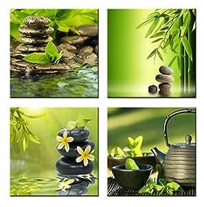 Green Bamboo y Zen Cobblestone Arte Contemporáneo Giclee Lienzos Impresiones Enmarcado Lienzo Arte de La Pared para la Decoración Del Hogar Oficina Decoración de La Pared 40x40 cm x 4 unids