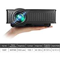 Video Projector, VPRAWLS Portable 1080p Full HD Movie Projector LED Multimedia Mini Projector for iPhone Android Mobile Projector in Home Theater Cinema Entertainment