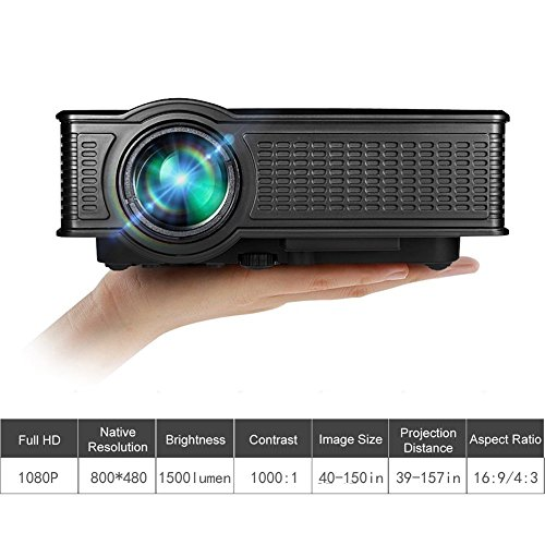 Video Projector, GOXMGO Portable 1080p Full HD Movie Projector LED Multimedia Mini Projector for iPhone Android Mobile Projector in Home Theater Cinema Entertainment by GOXMGO