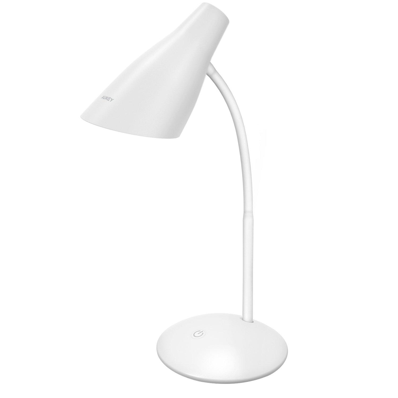 AUKEY LT-ST13 Lampada da Tavolo a LED, Lampada da 4,8W Alimentata di Porta USB, Protezione degli Occhi, Controllo a Tocco, Regolazione della Luminosità, Collo Flessibile per Leggere e Lavoro, Bianco