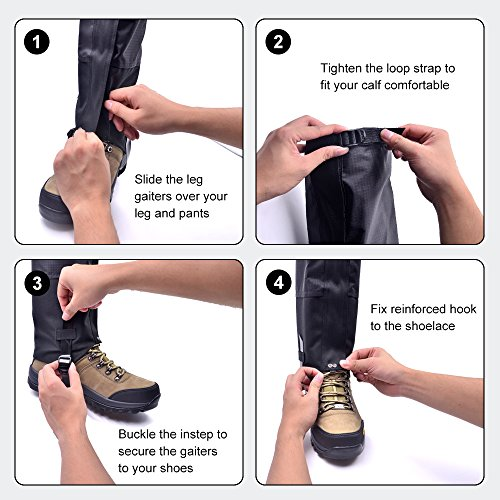 Leanking Leg Gaiters, Waterproof Snow Boot Gaiters 600D Anti-Tear Oxford Fabric Outdoor Waterproof Snow Leg Gaiters for Outdoor Hiking Walking Hunting Climbing Mountain (Black, L) by Leanking (Image #2)