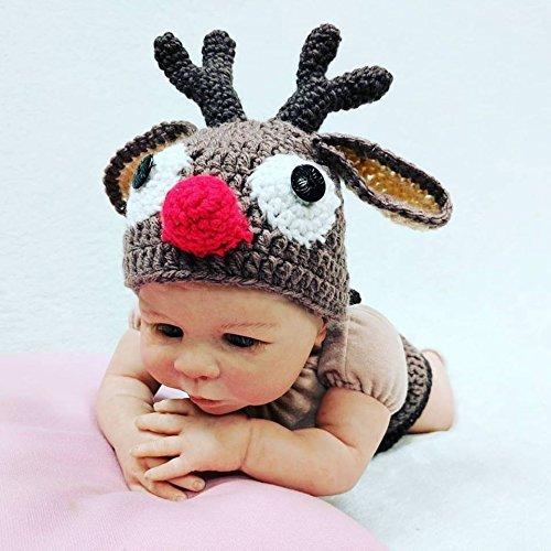 (Crochet Newborn Reindeer Outfit, Newborn Photo Props, Newborn Halloween Costume, Size Newborn, 0-3M, 3-6M, 6-12M)