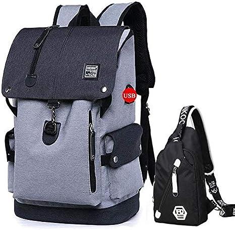 KWELJW Fashion Men Backpack Shoulder Bag Male Fashion Best Travel Backpacks Everyday Bagpack Laptop Bags For Teenager Boy Mochila 2019 15 Inches Gray Backpack Set: Amazon.es: Deportes y aire libre
