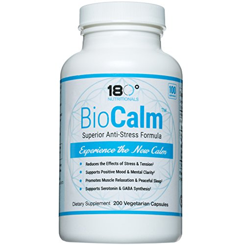 BIOCALM Natural Stress Relief Formula- Promotes Clarity, Balance & Relaxation | 200 Capsules Non-GMO, Vegan | 100% Magnesium Bisglycinate Chelate (TRAACS) & Organic Anti-Stress Superfood Ingredients