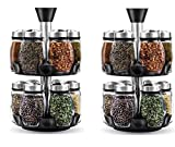 Set of 2- Blumwares 12 Glass Spice Jar Rack, Rack Measures: 16 x 15.8 x 30.2 cm Each Jar Measures:4 cm x 9 cm