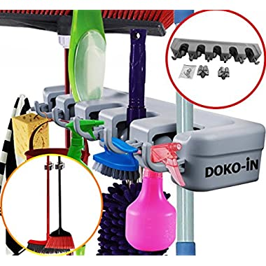 5 Position Mop And Broom Holder - Brooms Organizer - With 2 Extra Single Holders - Wall Mounted Rack - Garage Storage Solutions - Holds Up to 11 Tools - Strong,Sturdy - 1 Year Warranty - by DOKO-IN