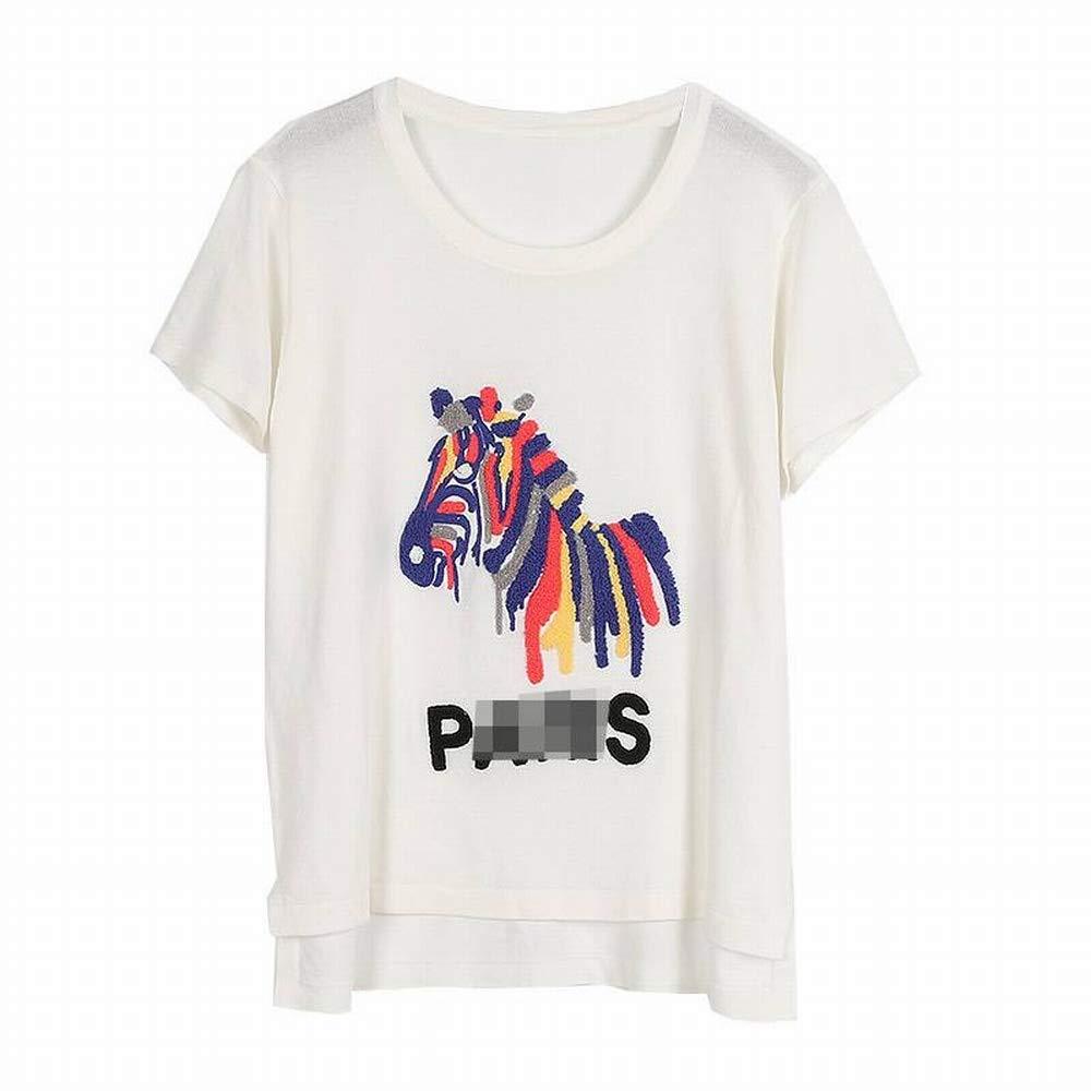 Thumby Frauen Lösen Lösen Lösen Alle Übereinstimmen Farbe Wollstickerei Zebra Haar Kurzarm-T-Shirt Stricken Top-Trend B07GVDK4Q5 Bekleidung Günstiger 63b8e9
