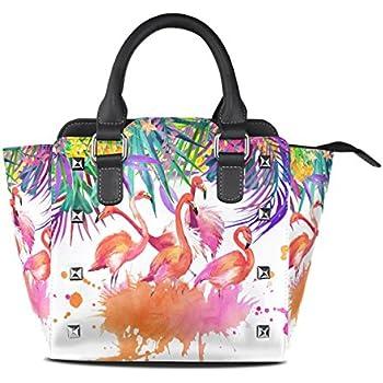 Amazon.com: ALAZA Tropical rosa Flamingo remache PU bolsa de ...