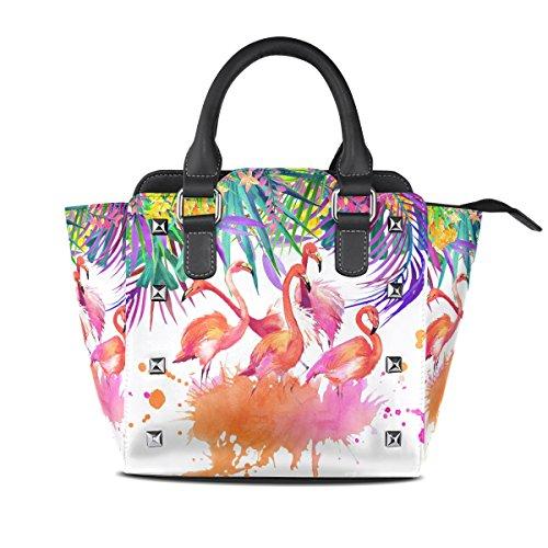 ALAZA Tropical Flamingo Palm Tree Watercolor Rivet PU Leather Tote Bag Shoulder Bag Purse (Palm Tree Purse)