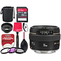 Canon EF 50mm f/1.4 USM Lens with 32GB Ultra Pro Speed Class 10 SDHC Memory Card + 3pc Filter Kit (UV-FLD-CPL) + Deluxe Sleeve + Celltime Microfiber Cleaning Cloth - International Version