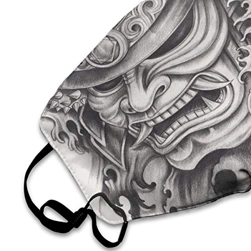 NYF Unisex Anti Dust Mouth Mask Warrior Samurai Drawing Angry Expression Historical Figure Artwork Outdoor Face Mask with Adjustable Earloops