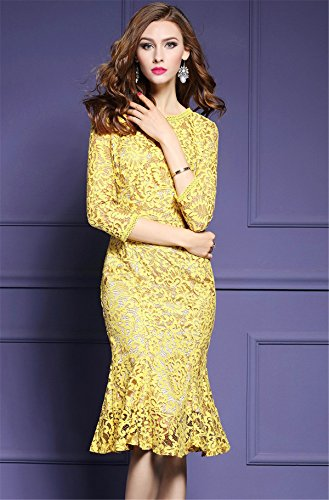 Crew Gown Evening Long Allonly Yellow Hip Mermaid Zipper Flouncing Neck Lace Elegant Women Dress Package Back Slim ItZwO4qZ