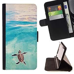 BullDog Case - FOR/Apple Iphone 4 / 4S / - / tortoise turtle baby watercolor sea /- Monedero de cuero de la PU Llevar cubierta de la caja con el ID Credit Card Slots Flip funda de cuer