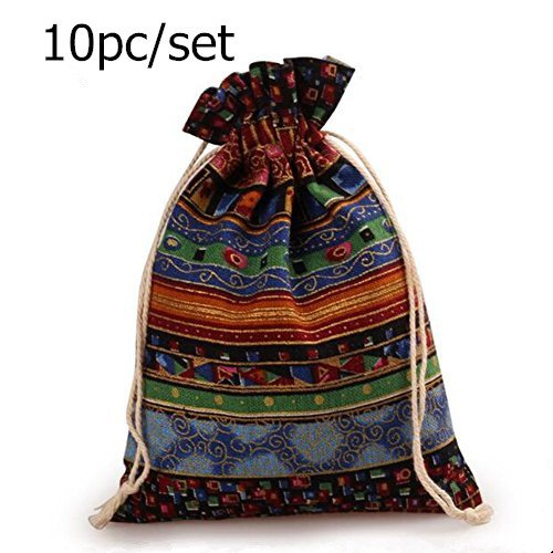 Bamboo Bedroom Armoire (Startdy CL 10pcs Egyptian Style Jewelry Coin Candy Goodie Pouches Aztec Print Drawstring Gift Bag)