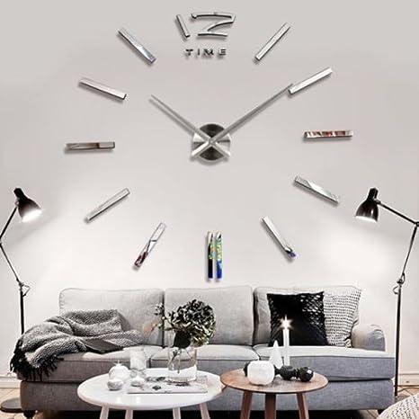 3d DIY reloj de pared moderno reloj para decoración espejo salón hogar: Amazon.es: Hogar