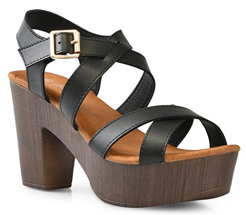 LUSTHAVE Women's Open Toe Strappy Buckle Platform Wooden Finish Heel Sandals Soft Cushioned Cut Out Shoes Black (Wooden Platform Sandals)