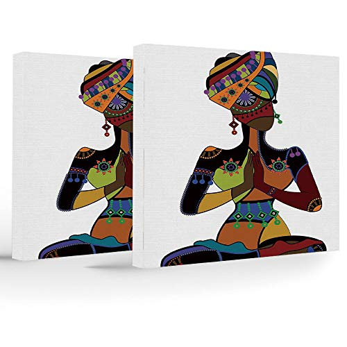 Birthday Decorations,Yoga,Canvas Painting Home Decor,Woman Figure in Ethnic Style Costume Praying Culture Religion Enlightenment Grace Decorative -
