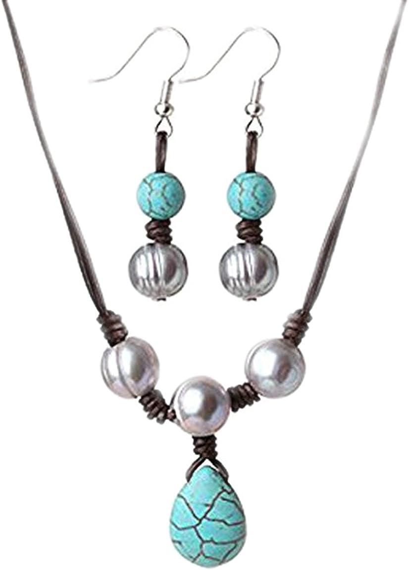 FAB TreasureBay 8 mm Color de la perla de agua dulce, en cordón de cuero de la piedra preciosa turquesa Collar y Pendientes Joyería Set - presentado en una bonita caja de regalo