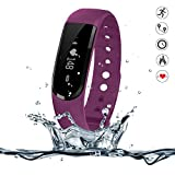 Heart Rate Monitor Watch - 007plus D101 IP67 Waterproof Heart Rate Monitor Fitness Tracker Armband Sleep Monitor with Bluetooth 4.0 Pedometers Activity Tracker for Android iOS Smartphone (Purple)