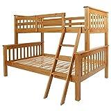 Seconique Neptune Triple Sleeper Wooden Bunk Bed Frame, Oak by Seconique