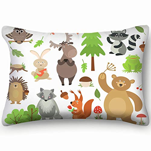 Cartoon Forest Animals Elk Owl Hare Wildlife Objects Skin Cool Super Soft and Luxury Pillow Cases Covers Sofa Bed Throw Pillow Cover with Envelope Closure 1624 Inch